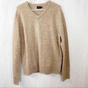 J. Crew Lambs Wool Mens V Neck Sweater Tan Large